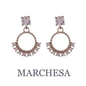 MARCHESA Swarovski Crystal Drop Hoop Earrings